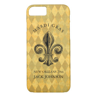 Mardi Gras Fleur-de-lis Harlequin Add Name & Year Case-Mate iPhone Case