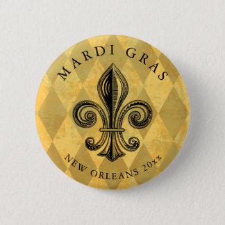 Mardi Gras Fleur-de-lis Harlequin Add Year 2 Inch Round Button