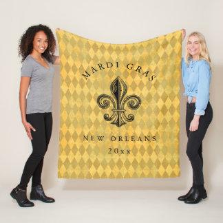 Mardi Gras Fleur-de-lis Harlequin Add Year Fleece Blanket