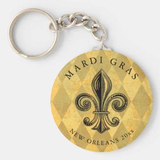Mardi Gras Fleur-de-lis Harlequin Add Year Keychain