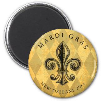 Mardi Gras Fleur-de-lis Harlequin Add Year Magnet