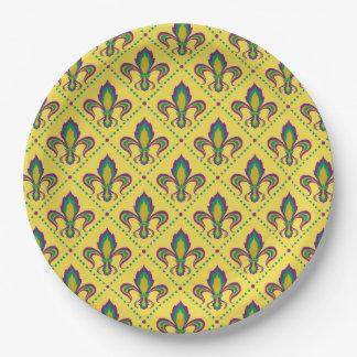 Mardi Gras Fleur De Lis Paper Plate
