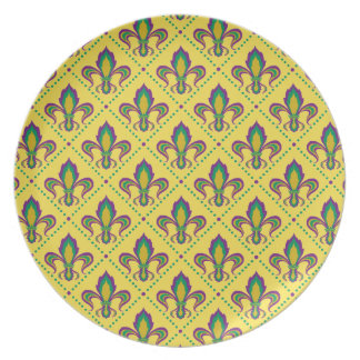 Mardi Gras Fleur De Lis Plate