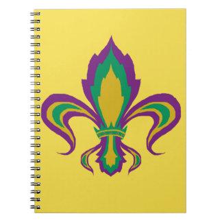 Mardi Gras Fleur De Lis Spiral Notebook