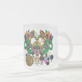 Mardi Gras Football Dragon King view notes Please 10 Oz Frosted Glass Coffee Mug