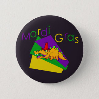 Mardi Gras Gator Button