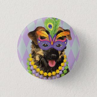 Mardi Gras German Shepherd 1 Inch Round Button