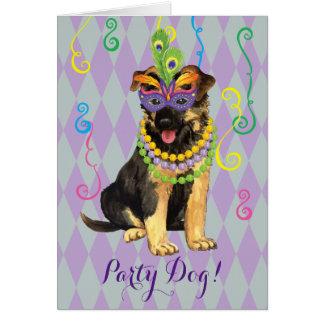 Mardi Gras German Shepherd Card