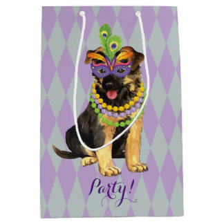 Mardi Gras German Shepherd Medium Gift Bag