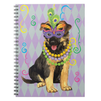 Mardi Gras German Shepherd Notebook