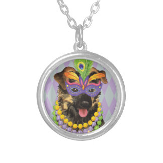 Mardi Gras German Shepherd Silver Plated Necklace