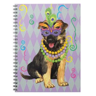Mardi Gras German Shepherd Spiral Notebook