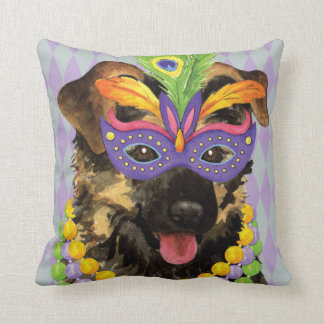 Mardi Gras German Shepherd Throw Pillow