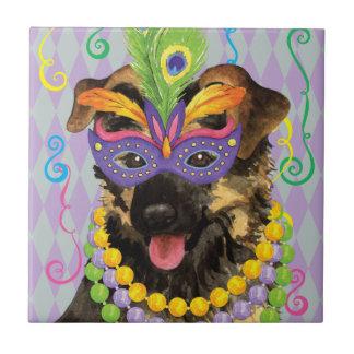 Mardi Gras German Shepherd Tile