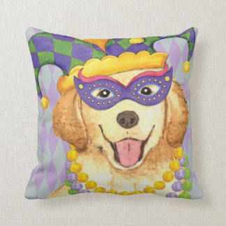 Mardi Gras Golden Throw Pillow
