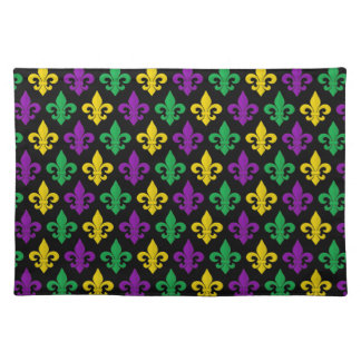 Mardi Gras Green Gold and Purple Fleur-de-lis Placemat