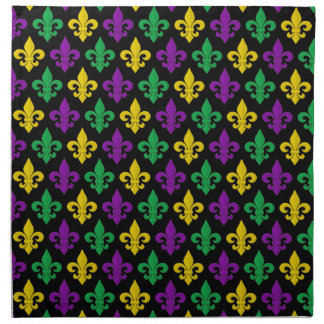 Mardi Gras Green Gold Purple Fleur-de-lis Pattern Napkin