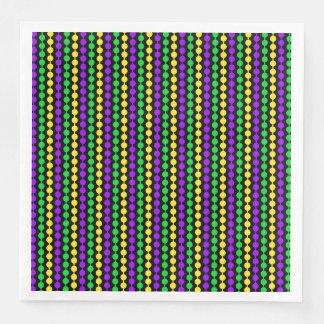 Mardi Gras Green, Yellow, Purple Beads on Black Paper Dinner Napkin