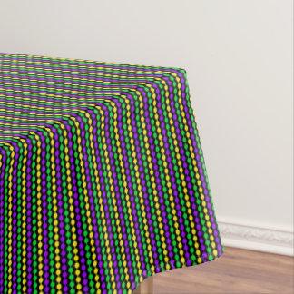 Mardi Gras Green, Yellow, Purple Beads on Black Tablecloth