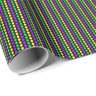 Mardi Gras Green, Yellow, Purple Beads on Black Wrapping Paper