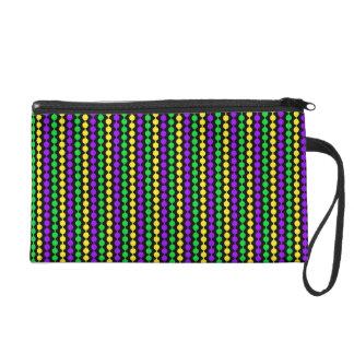 Mardi Gras Green, Yellow, Purple Beads on Black Wristlet