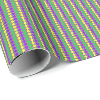 Mardi Gras Green, Yellow, Purple Beads on Gray Wrapping Paper