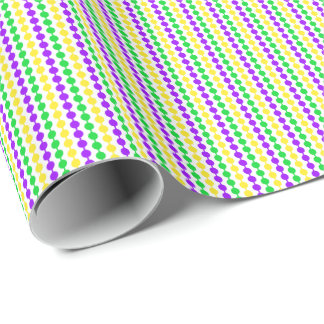 Mardi Gras Green, Yellow, Purple Beads on White Wrapping Paper