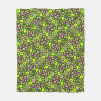 Mardi Gras Green Yellow Purple Pattern Fleece Blanket