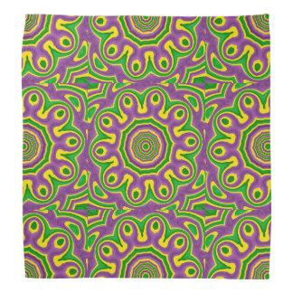 Mardi Gras Green Yellow Purple Pattern Mandala Bandana