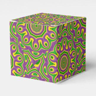 Mardi Gras Green Yellow Purple Pattern Mandala Favor Box