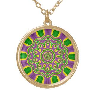 Mardi Gras Green Yellow Purple Pattern Mandala Gold Plated Necklace