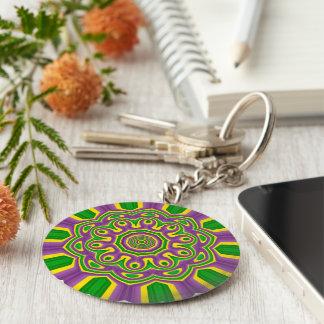 Mardi Gras Green Yellow Purple Pattern Mandala Keychain