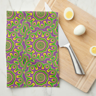 Mardi Gras Green Yellow Purple Pattern Mandala Kitchen Towel