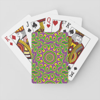 Mardi Gras Green Yellow Purple Pattern Mandala Playing Cards