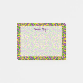 Mardi Gras Green Yellow Purple Pattern Mandala Post-it Notes