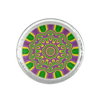 Mardi Gras Green Yellow Purple Pattern Mandala Ring