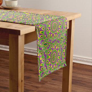 Mardi Gras Green Yellow Purple Pattern Mandala Short Table Runner