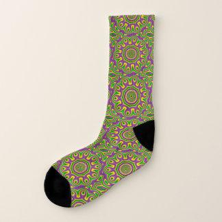 Mardi Gras Green Yellow Purple Pattern Mandala Socks