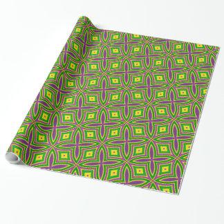 Mardi Gras Green Yellow Purple Pattern Wrapping Paper