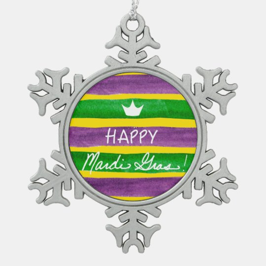 Mardi Gras Hand Painted Purple Green Gold Stripes Pewter Snowflake Ornament