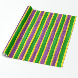 Mardi Gras Hand Painted Purple Green Gold Stripes Wrapping Paper