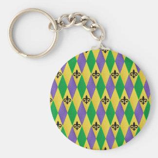 Mardi Gras Harlequin Fleur De Lis Basic Round Button Keychain
