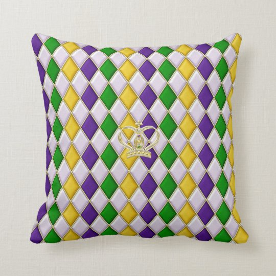 Mardi Gras Harlequin Pattern 3 w/crown Pillows