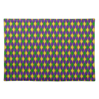 Mardi Gras Harlequin Pattern Cloth Placemats