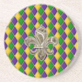 Mardi Gras Harlequin Pattern Coaster w/Fleur deLys