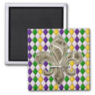 Mardi Gras Harlequin Pattern Fleur de Lis Square Magnet