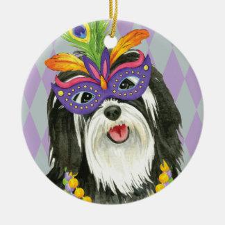 Mardi Gras Havanese Round Ceramic Ornament