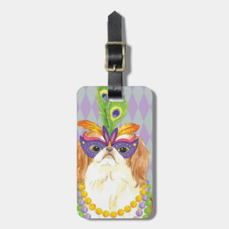 Mardi Gras Japanese Chin Luggage Tag