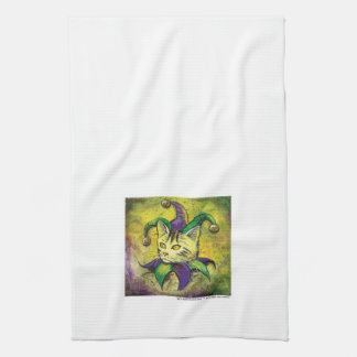 Mardi Gras Jester Kitty small version Kitchen Towel