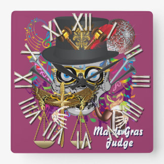Mardi Gras Judge 30 colors Important view notes Square Wall Clock